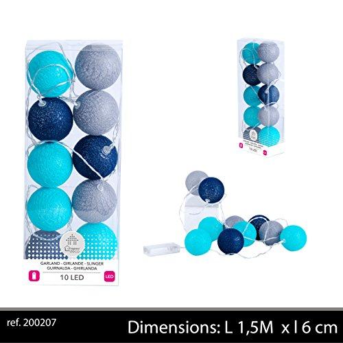 Urban déco Guirlande de 10 Boules Bleues/Grises