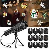 HWeggo Projektionslampe Weihnachtslicht Projektor,LED Projektor mit Motiven Feiertagsdekoration für Weihnachten Party Geburstag Hochzeit