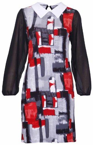 Damen Kontrast Aufdruck Bubikragen Damen Lang Chiffon Ärmel Schlüsselloch Zurück Swing Ausgestellt Shorts Mini Kleid Übergröße Rot