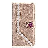 Miagon Hülle Glitzer für Huawei Mate 20 Pro,Luxus Diamant Strass Perle Herz PU Leder Handyhülle Ständer Funktion Schutzhülle Brieftasche Cover,Gold