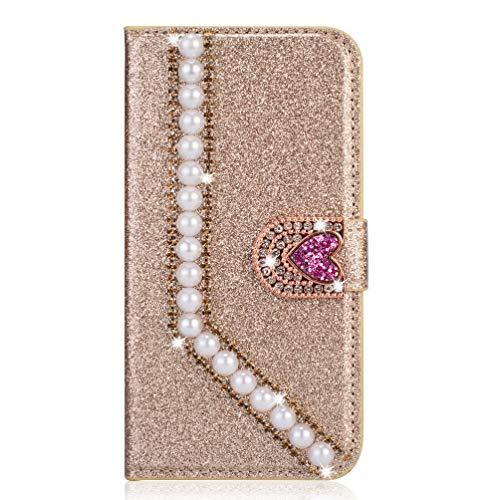 Miagon Hülle Glitzer für iPhone XS Max,Luxus Diamant Strass Perle Herz PU Leder Handyhülle Ständer Funktion Schutzhülle Brieftasche Cover,Gold