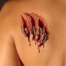 TAFLY Unisex Falso 3d Gory Cicatriz y Herida De Cuchillo Mordisco De Vampiro Body Art Tattoos Stickers Temporales De Zombie 5 Hojas