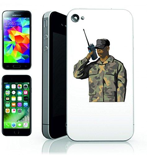 Smartphone Case Nero Uomo di Guerra del Soldato dell Esercito di comunicazione del messaggio della radio di Conversazione della Squadra di Walkie Talkie per Apple Iphone 4/4S, 5/5S, 5C, 6/6S, 7&