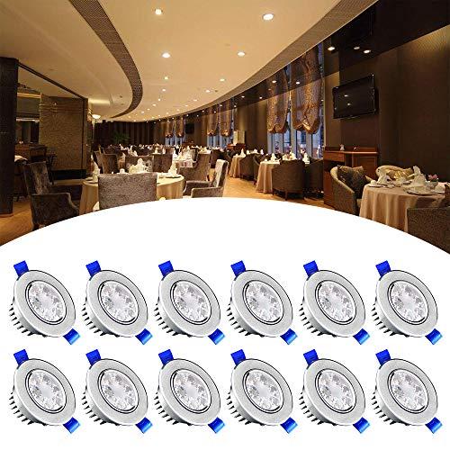 SAILUN 12x 3W Blanc Chaud LED Spot Encastrable Plafonnier Lampe Spot Spot Set Projecteurs encastrés 2800-3000K 280LM AC 85V-265V