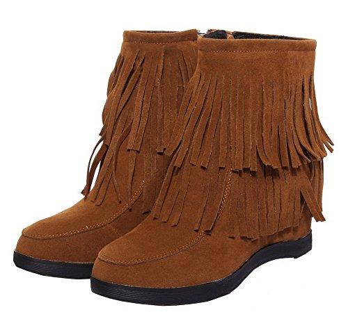 AgeeMi Zip Rond Haut Shoes à Brun Couleur Unie Haut Suede Femme Talon Bas Bottes arawUzHgq