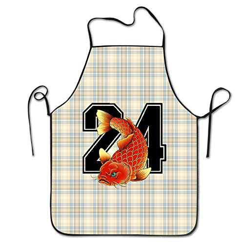 FRICSTAR Fashion Apron 24 Twenty Four Fish Traditional Asian Carp Cartoon Pattern Apron Burlap Cotton Women Apron Chef Kitchen Cooking Apron Bib
