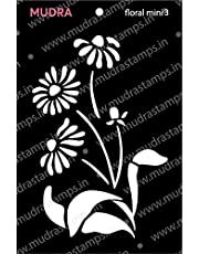 """MUDRA STAMP Stencils -Floral Mini 3 """"3x4"""" for DIY Home Decors, Crafts and Mixed Media"""