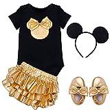 YiZYiF Baby Mädchen-Kleidung 4tlg. Set Strampler Romper + Rock Tütü + Schuhe Stirnband Verkleidung 4 Stück mit Haarreif 6 Monate