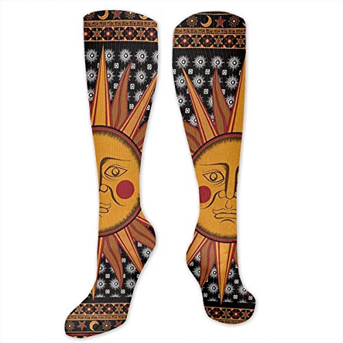 ouyjian Big Tall Casual Sports Socks for Men Yellow Hippie Sun Star Moon Unisex Non Slip Boot Socks Long Strumpf Women Training - Big Star-boot