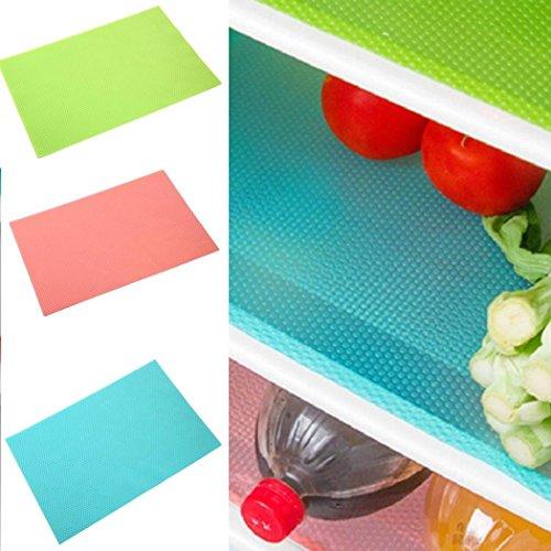 3er Pack Kühlschrank Matten Wasserdichte Kühlschrank Pads Regale Schubladen Tischsets Extender Liner Rosa + Grün + Blau -