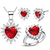 AnazoZ Damen Schmuckset Ohrringe Verlobungsringe Halskette Anhänger Herz Zirkonia CZ Prinzessin Geschenk für Frauen - Rot Größe 52 (16.6)