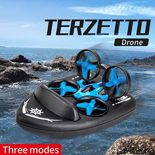 GODNECE Ferngesteuerte Boote für Kinder, 2.4G Mini Drohne für Kinder Quadcopter Kinder Anfänger 3-in-1 Seeland Himmel Hovercraft Boot Luftkissenfahrzeug Ferngesteuert, Mit 2er Akku