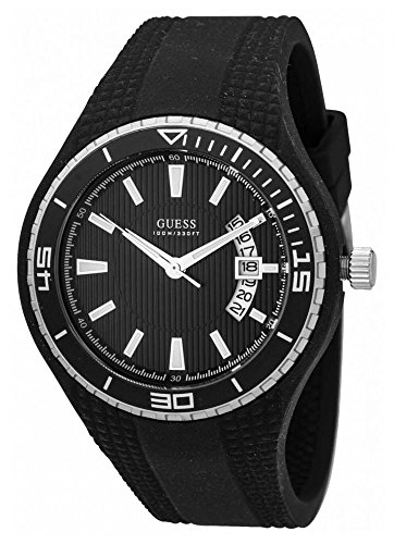 Guess Fin Unisex Quartz Watch with Black Dial Analogue Display and Black Rubber Strap W95143G1