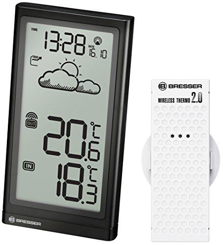 Bresser Wetterstation Funk mit Außensensor Meteo Temp und Datumsanzeige für Innen- und Außentemperatur mit Wettertrend-Anzeige