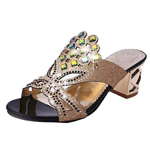 UFACE Strass Floß Air Mit Frauen Sandalen Hausschuhe Sommer Mode MäDchen GroßE High Heel Sandaletten Damen Strand Sandale (37, Schwarz) -