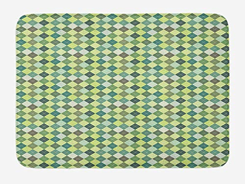 JIEKEIO Plaid Bath Mat, Traditional Argyle Pattern in Pastel Green Tones Checkered Striped Classical Design, Plush Bathroom Decor Mat with Non Slip Backing, 23.6 W X 15.7 W Inches, Multicolor Argyle Slip
