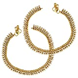Ethnic Indian Artisan Jewelry Set Faux Pearls Polki Golden Beads Anklet Payal SetABAN0244WH