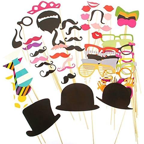 Prochive 58Pcs DIY Foto Booth Atrezzo Favorecer Incluyendo Bigotes Gafas Pelo Arcos Sombreros labios Pajaritas Coronas Pipas para Fiesta, boda,
