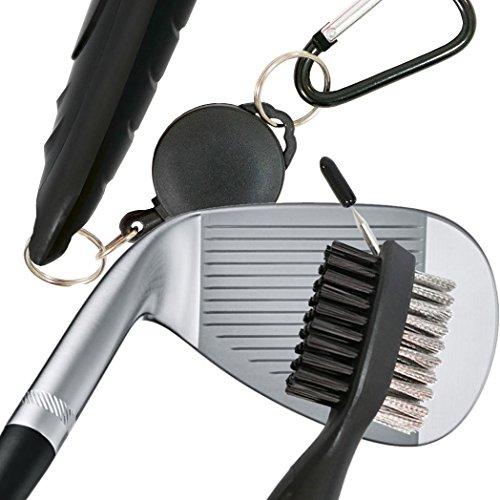 Golf Clubs von Zubehör für Bügeleisen Gesicht und Keile Groove die personalisierte Golf Geschenke für Männer Nylon und Draht Bürste mit Sharp Spike auch mit einziehbarem Snapback Kabel Karabiner