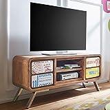 FineBuy Design HiFi Lowboard KAIA Sheesham Massivholz Kommode 130x58x38cm | TV-Board Unterschrank Ablage-Fach | Landhaus-Stil Fernsehtisch Rack | TV-Schrank Fernsehkommode TV Möbel | TV-Tisch groß