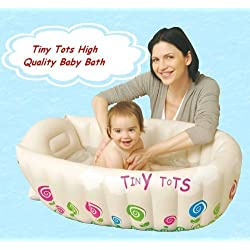 Tiny Tots Baby Infant Travel Inflatable Bath Tub Cream Colour by Tiny Tots