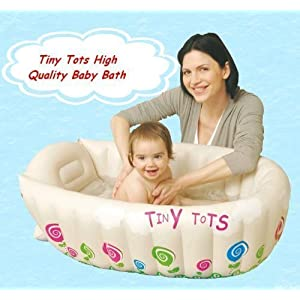 Tiny Tots Baby Infant Travel Inflatable Bath Tub Cream Colour 8