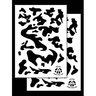 Acid Tactical® 2 Pack - 23x35cm Single Design Camouflage Airbrush Spray Paint Stencils - Duracoat Gun (Army Camo)