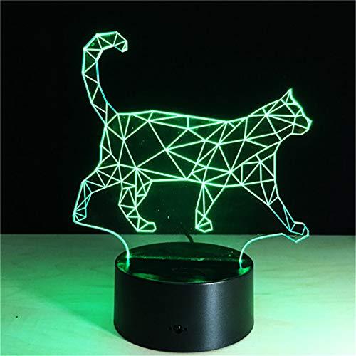 PDDXBB Walking Cat Nacht Nacht Lampe USB Touch Switch Led Licht Zimmer Baby Schlaf Beleuchtung Sieben Farben 20 * 14 cm (Touch Switch Black Base ()