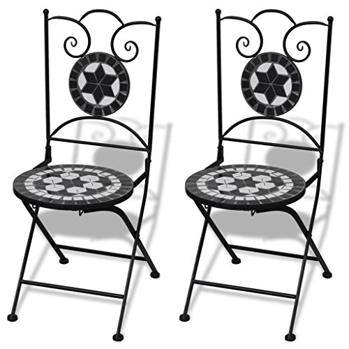 vidaXL Jeu de 2 chaises mosaïques de Bistro Noire/Blanche Ensemble chaises de Jardin