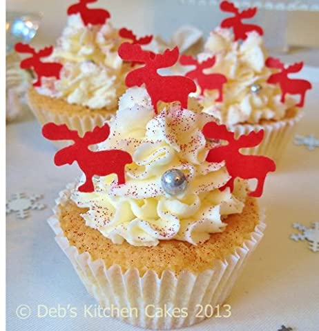 Christmas Cake Decorations - Edible Wafer Reindeers - Cupcakes - Red - Stand Up Red Reindeers x 36