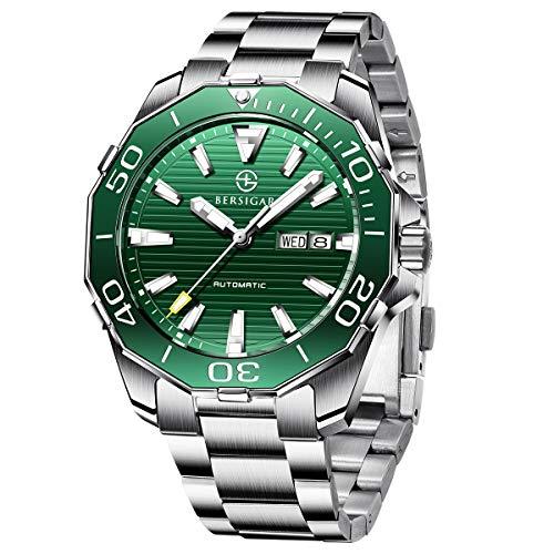 BERSIGAR BG-1617 Die besten Automatikuhren für Herren - wasserdichte grüne Zifferblatt-Business-Casual-Armbanduhr aus Edelstahl für Männer