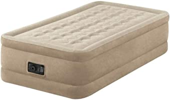 INTEX Unisex's 64456BS Twin Ultra Plush Airbed with Fiber-tech Bip (for UK Only), Taupe, Size