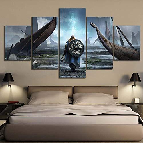 cmhai Leinwand Malerei Wandkunst Modulare Bilder 5 Stücke/Stücke Wikinger Film HD Druck Poster Home Dekorative Moderne Wohnzimmer Rahmen-40x60cmx2 40x80cmx2 40x100cmx1 -