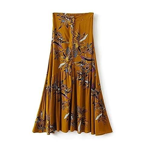 iShine Womens Elastic High Waist Floral Print Cotton Skirt Chic Vintage Slim Fit Long Skirts
