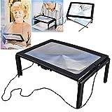 LED Lupe Leselupen 3X Tischlupe mit Licht für Senioren Groß Rechteckiges Handlupe mit Klappständer Lesehilfen zum Lesen Büchern, Magazinen, Zeitungen, Landkarten