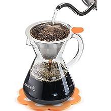 Easehold Cafetera de Goteo Manual Verter por Encima Pour over Con Filtro de Café Permanente de Acero Inoxidable con Almohadilla Graduado de Silicona Resistente al Calor (500 ml)