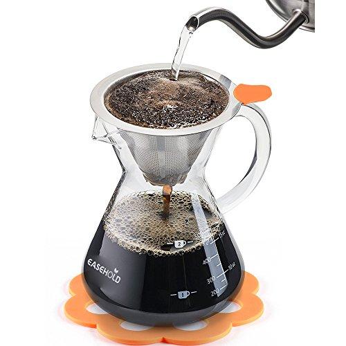 Easehold Kaffeebereiter Pour Over, Kaffeezubereiter, Kaffeekanne mit Dauerfilter aus Edelstahl und...