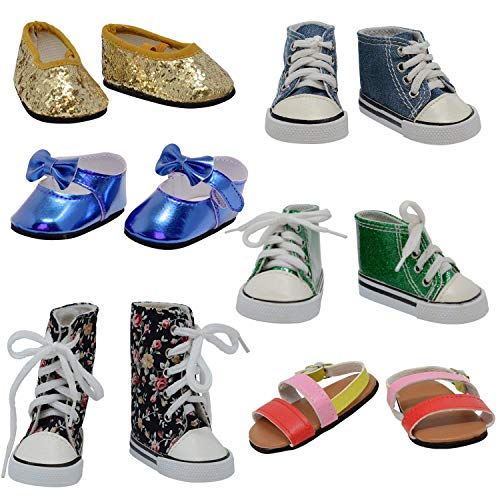 The New York Doll Collection D358 6 Paar Schuhe passend für 45,7 cm große Puppen (Stil 3), Mehrfarbig, 12 Stück - Flache Ferse Leinwand