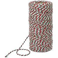 100 Metros de Cuerda de Algodón Roja, Blanca y Verde Cordel de Navidad de Panaderos Caramelo 2 mm de Diámetro para Embalaje de Regalo Decoración de Navidad DIY (Rojo, Blanco y Verde)