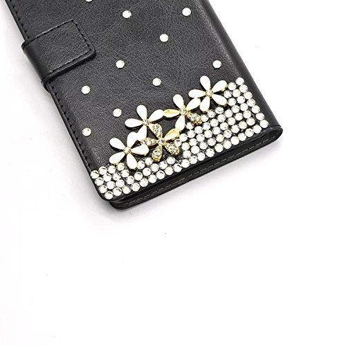 Für iPhone 7 Brieftasche Handytasche, Vandot 3D Glitzer Strass Slimfit Schutzhülle für iPhone 7 4.7 inch Handgefertigt Hülle PU Leder Book Type Flip Stand Case Cover Telefonkasten Diamant Bling Krista Diamant 15