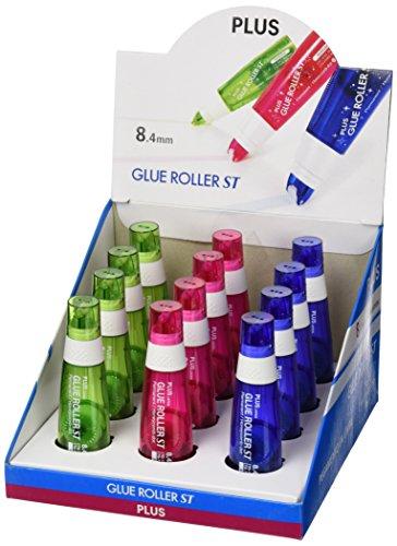 Pegamento en roller Plus Japan, expositor 12 roller adhesivos