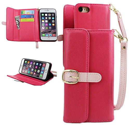 iPhone 7 Brieftasche Hülle, FANSONG Wallet Handy Case für Apple iPhone 7 4.7 inch Slim Light PU Leder Fall Mit Kartenfächer Holder Standfunktion Handgelenk-Trageschlaufe - Fall, Wallet Männer Dass 4 Iphone