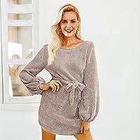 TCQJOG Elegant Lantern Sleeve Women Dress Casual Autumn Winter Dress Vintage Warm Party Lady Dress Vestidos S Khaki
