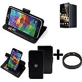TOP SET: 360° Funda Smartphone para Ulefone Power, negro + anillo protector   Función de stand Caso Monedero BookStyle mejor precio, mejor funcionamiento - K-S-Trade