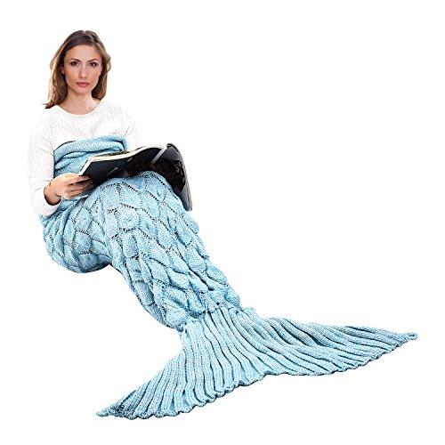 Couverture de queue de sirène tricotée à la main, Ecrazybaby888 toutes les saisons chaude canapé-lit salon couverture pour enfants et adultes, motif poisson-échelle, 195 x 90 cm, Bleu clair