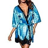 MRULIC Damen Lässige Tiefer V-Ausschnitt Pyjama Lace Trimmed Shorts Overall Nachtwäsche Mode Kurze Top Bowknot Plus Size Uniformen Hosenträger Rock Temptation Unterwäsche-Set (Dunkelblau,EU-38/CN-L)