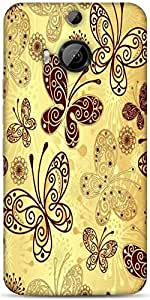 Snoogg Butterfly Cream Designer Protective Back Case Cover For Htc One M9 Plu...