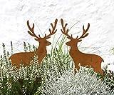 LB H&F Lilienburg Weihnachtsdeko Roststecker Rost Metall wetterfest (Hirsch Set - Gr)