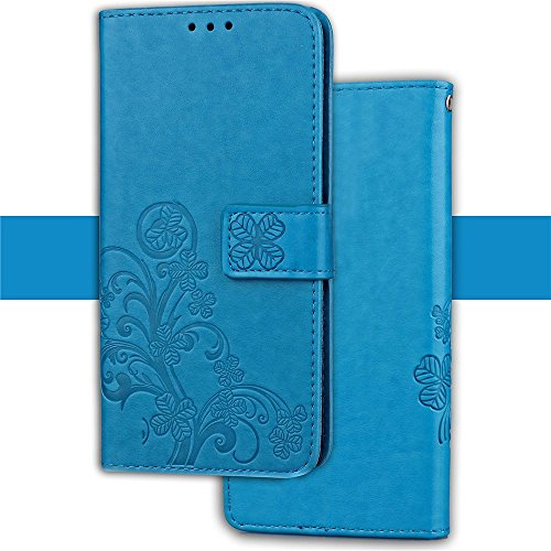 Eaquro Custodia in Pell iPhone 7 Plus / iPhone 8 Plus Wallet Case a portafoglio con Card Slot [chiusura magnetica] in pelle ultra-sottile con funzione di supporto,Cover Morbido Antipolvere Protezione  Celeste