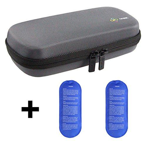 Estuche de viaje para diabético insulina enfriador refrigeración organizar medicamento aislado bolsa con 2 bolsas de hielo gris